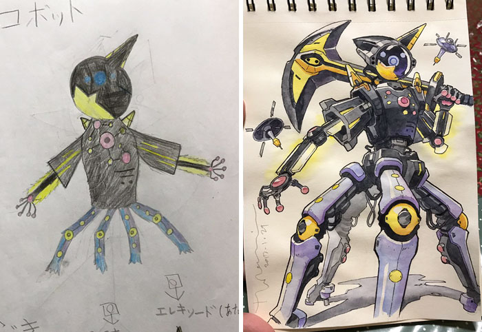 Illustrator Turns His Sons' Doodles Into Amazing Anime Characters arts  Japan Arts