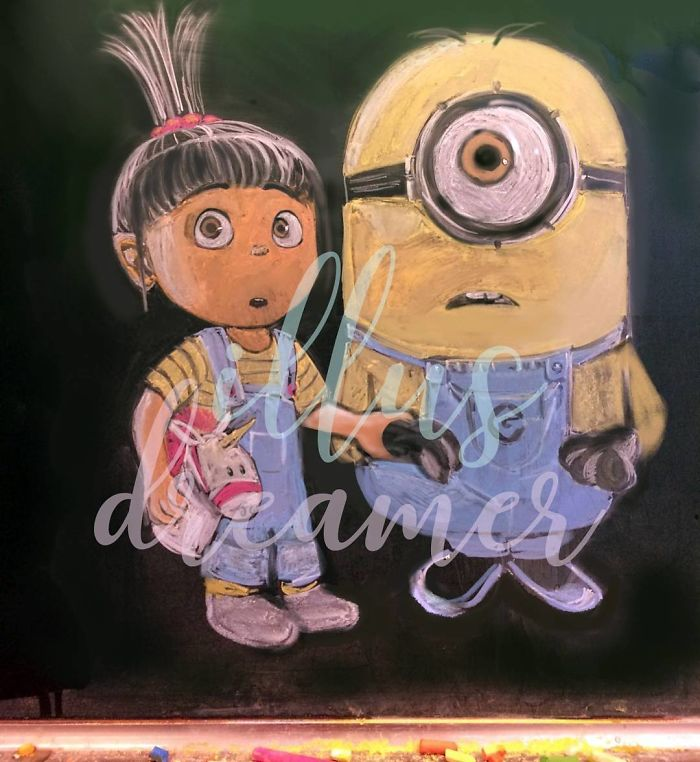 Hong Kong Students Create Awesome Chalk Drawings On Classroom Blackboard girl arts  China Arts Anime 2018