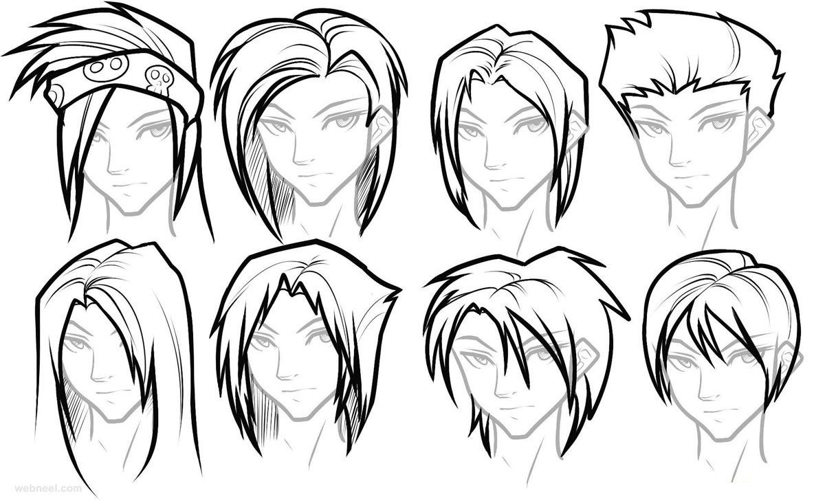 How to draw female anime hairstyles