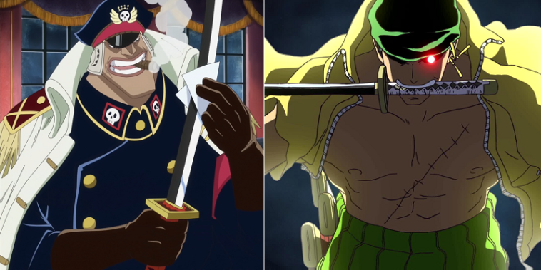 Zoro is the perfect opponent to Shiryu of the Blackbeard Pirates