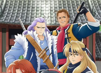 The main characters of gourmet TV anime Shin Chuka Ichiban! pose in front of a Buddhist temple.